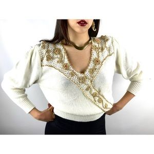 VTG white w/ metallic gold knitted spring sweater